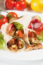Grilled chicken and salad in tortilla wrap Royalty Free Stock Image
