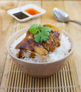 Grilled chicken serve on rice with sauce Royalty Free Stock Photo