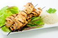 Grilled chicken on skewers bamboo with a peanut dipping sauce Royalty Free Stock Photos