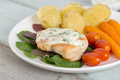 Grilled Chicken steak topping spinach sauce. Royalty Free Stock Photo
