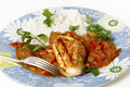 Grilled chicken in tomato sauce Stock Images