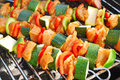 Grilled chicken and vegetable shashliks colorful on the summer picnic Stock Photos