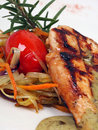 Grilled chicken with vegetables Stock Image