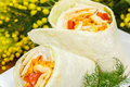 Grilled chicken and vegetables wrapped in tortilla. Royalty Free Stock Image