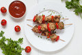 Grilled chiken kebab skewer barbecue meat with Royalty Free Stock Photo