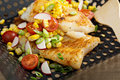 Grilled cod with summer vegetables Royalty Free Stock Photo