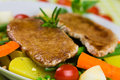 Grilled cutlet food with colorful vegetable mixed Royalty Free Stock Photography