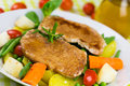 Grilled cutlet food with colorful vegetable mixed Stock Photos