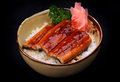 Grilled eel in bowl with sauce on rice Stock Images