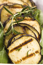 Grilled eggplant slices on a plate with fresh rosemary Royalty Free Stock Photos