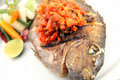 Grilled fish food portion Stock Photos