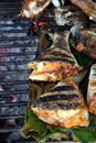 Grilled fish food portion Royalty Free Stock Images