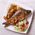 Grilled fish with fried potatoes and salad top view, closeup Royalty Free Stock Photo