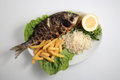 Grilled fish on a plate Royalty Free Stock Photo