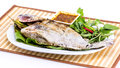 Grilled fish with salt on white plate Royalty Free Stock Photo