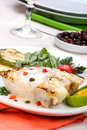 Grilled halibut Stock Image