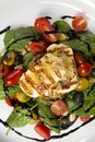 Grilled Halloumi Cheese poured with garlic olive oil salad witch grilled eggplant, cherry tomatoes, black olives and spinach Royalty Free Stock Photo
