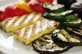 Grilled halloumi cheese and vegetables close up selective focus Royalty Free Stock Photos