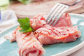 Grilled Ham rolls stuffed with cheese and parsley Royalty Free Stock Photos