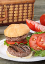 Grilled Hamburger Picnic Stock Images