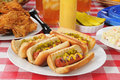 Grilled hot dogs Royalty Free Stock Image