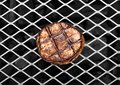 Grilled juicy beef pork steak on barbecue mesh Royalty Free Stock Photo