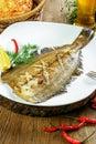 Grilled juicy flounder