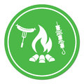 Grilled kebab and sausage icon