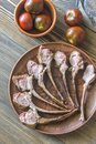Grilled lamb rib chops on the plate Royalty Free Stock Photo
