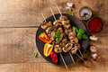 Grilled meat (kebab) with vegetables and  sauce Royalty Free Stock Photo