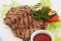 Grilled meat photo of on a plate Stock Photos