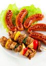 Grilled meat and sausages Stock Image