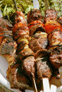Grilled meat on a skewer. Close up Royalty Free Stock Photo