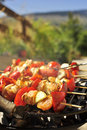 Grilled Meat Skewers on the BBQ Royalty Free Stock Images