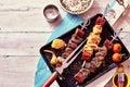 Grilled Meat Skewers with Fresh Ingredients