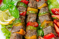 Grilled meat on skewers with vegetables salad leaves Royalty Free Stock Image