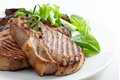 Grilled meat steak and fresh vegetables salad Royalty Free Stock Photo