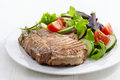 Grilled meat steak and fresh vegetables salad Stock Photography