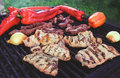 Grilled meat and vegetables Royalty Free Stock Photo