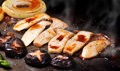 Grilled mushroom and onion with japanese source close up sauce Stock Images