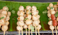 Grilled pork ball with sweet spicy sauce thai street food Stock Photo
