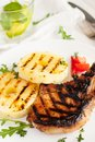 Grilled pork chops with pineapple Royalty Free Stock Photo