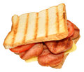 Grilled pork luncheon meat sandwich a on toasted white sliced bread isolated on a white background Stock Photo