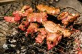 Grilled pork and meat beef ferment with pepper and oyster sauce. Royalty Free Stock Photo
