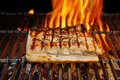 Grilled pork striploin and bbq flames xxxl you can see more food fire on my page Stock Photography