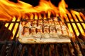 Grilled pork striploin and bbq flames xxxl you can see more food fire on my page Stock Photos