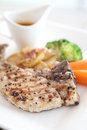 Grilled porkchop in close up Royalty Free Stock Photos
