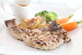 Grilled porkchop in close up Stock Images
