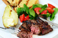 Grilled Rib Eye with Baked Potato Stock Photography