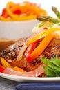 Grilled rib-eye steak with mashed potatoes Royalty Free Stock Photo